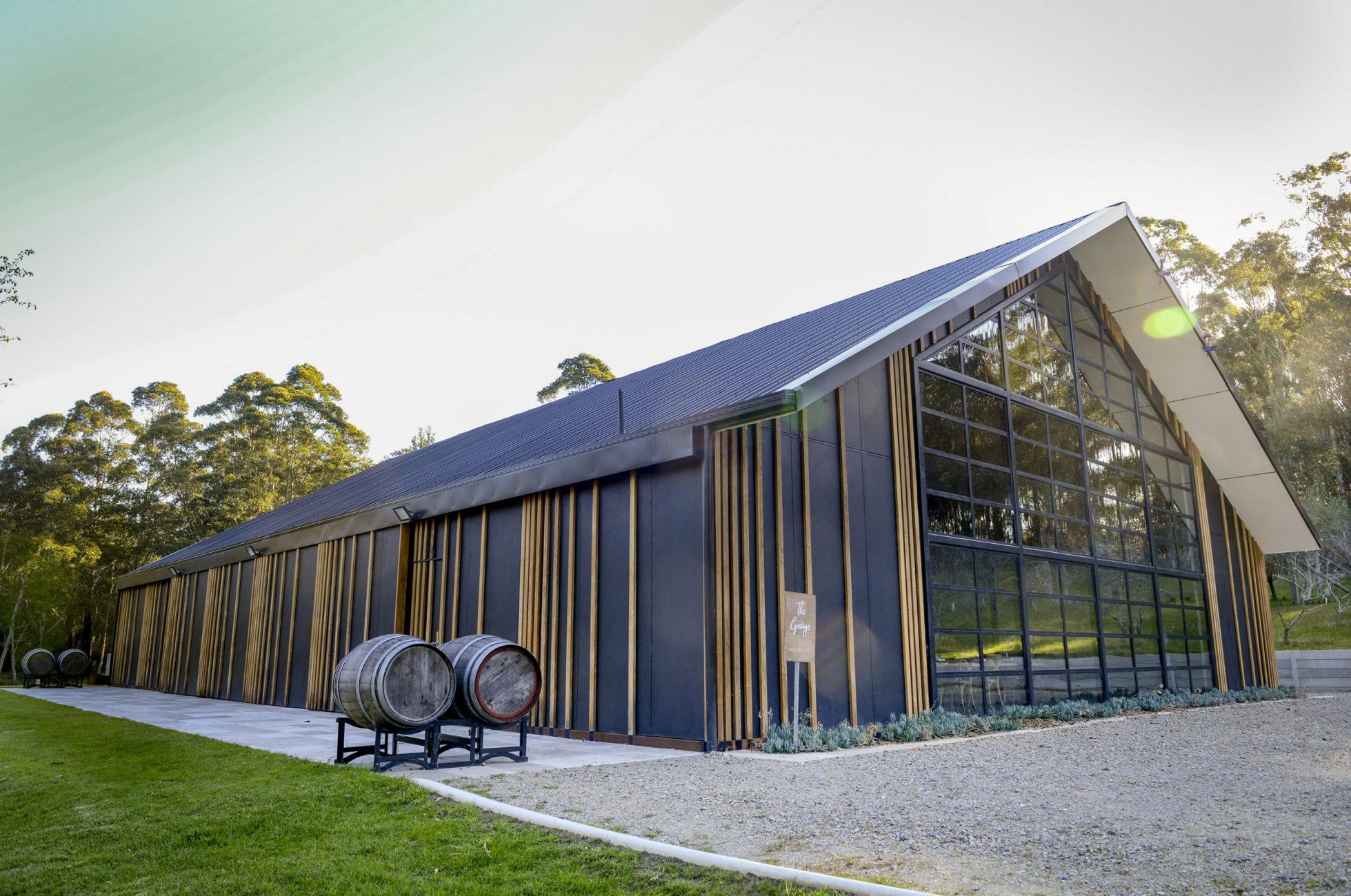 Modern reception venue for winery weddings
