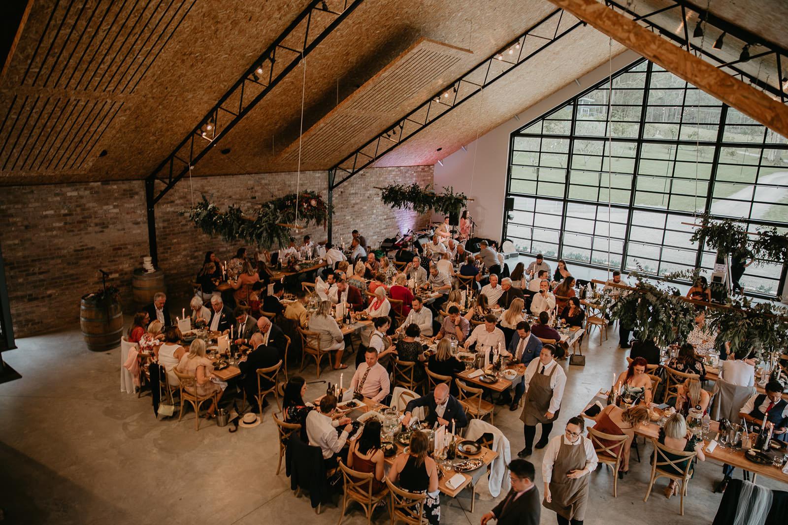 Modern industrial warehouse wedding reception