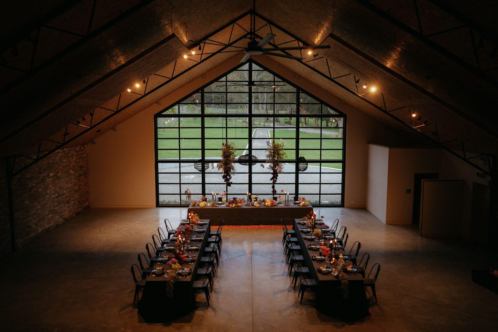 Modern wedding styling in unique south coast wedding venue